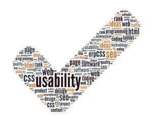 Usability Concept - Check Mark Sign Shaped Word Cloud